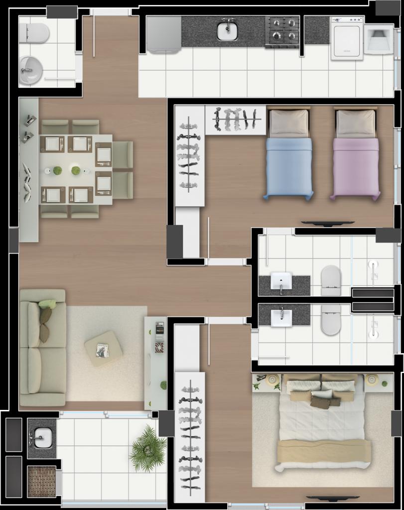 mirage-planta-2-dormitorios